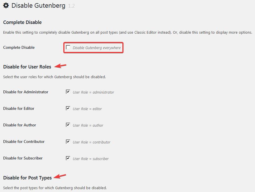 Страница настройки плагина Disable Gutenberg