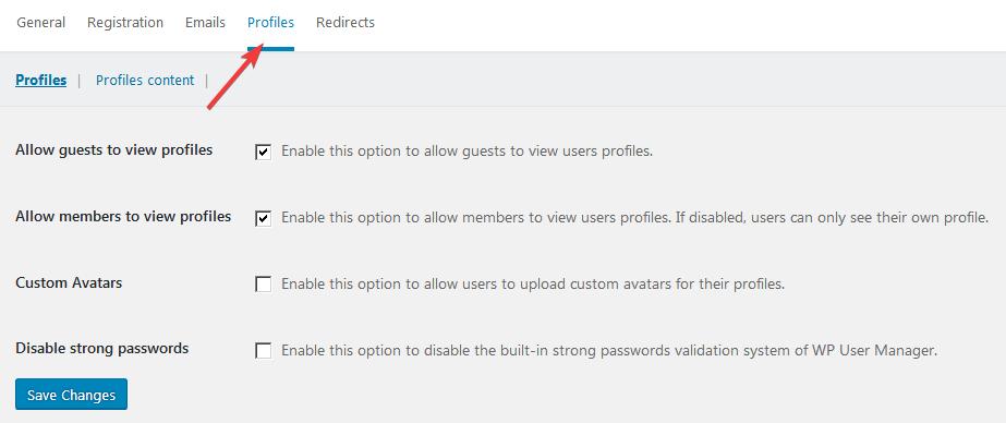 Настройка плагина WP User Manager