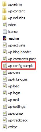 Список файлов WordPress