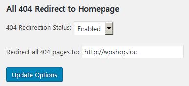 Страница настроек плагина All 404 Redirect to Homepage