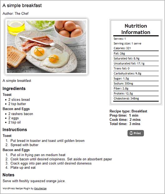 Страница рецепта блюда, созданного с помощью плагина EasyRecipe