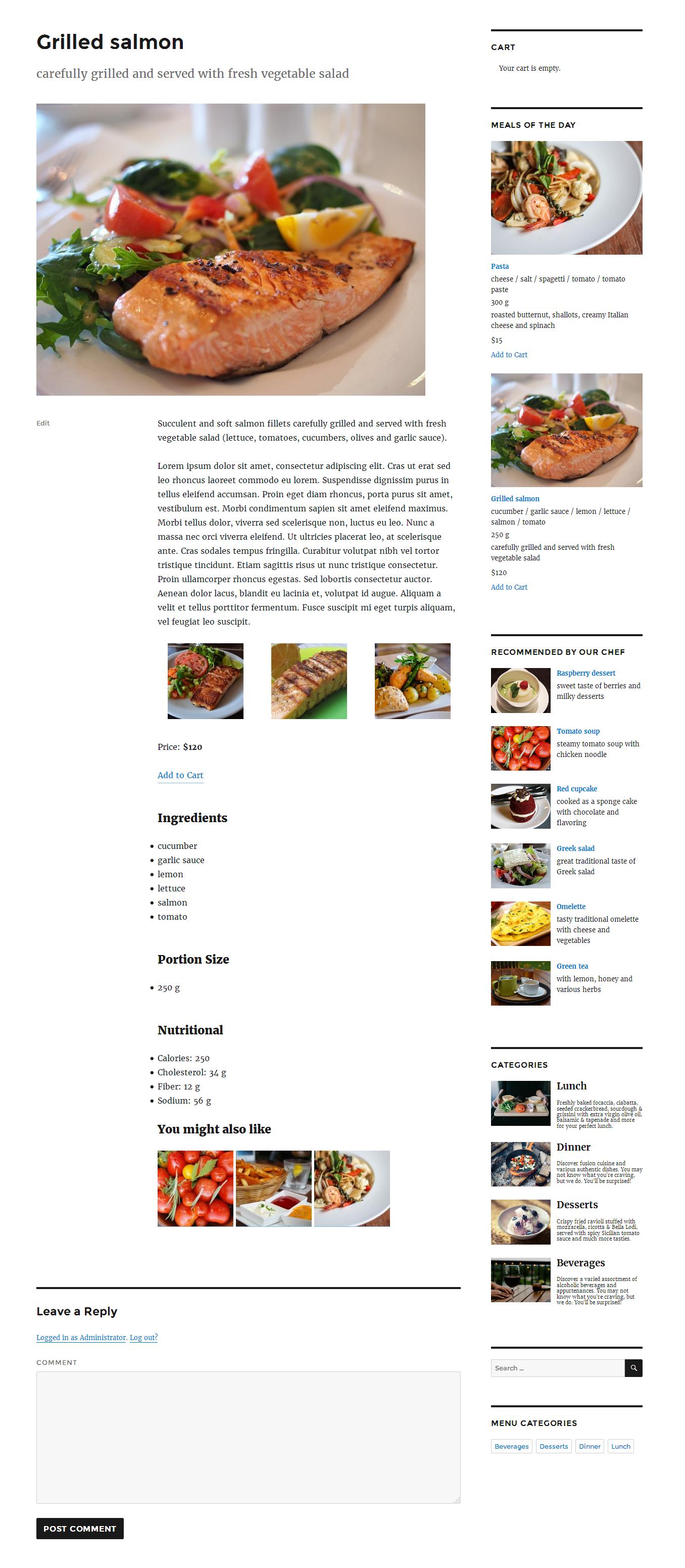 Пример работы плагина Restaurant Menu by MotoPress