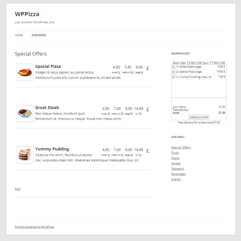 Пример работы плагина WPPizza