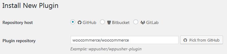 Установка плагина WooCommerce с помощью WP Pusher