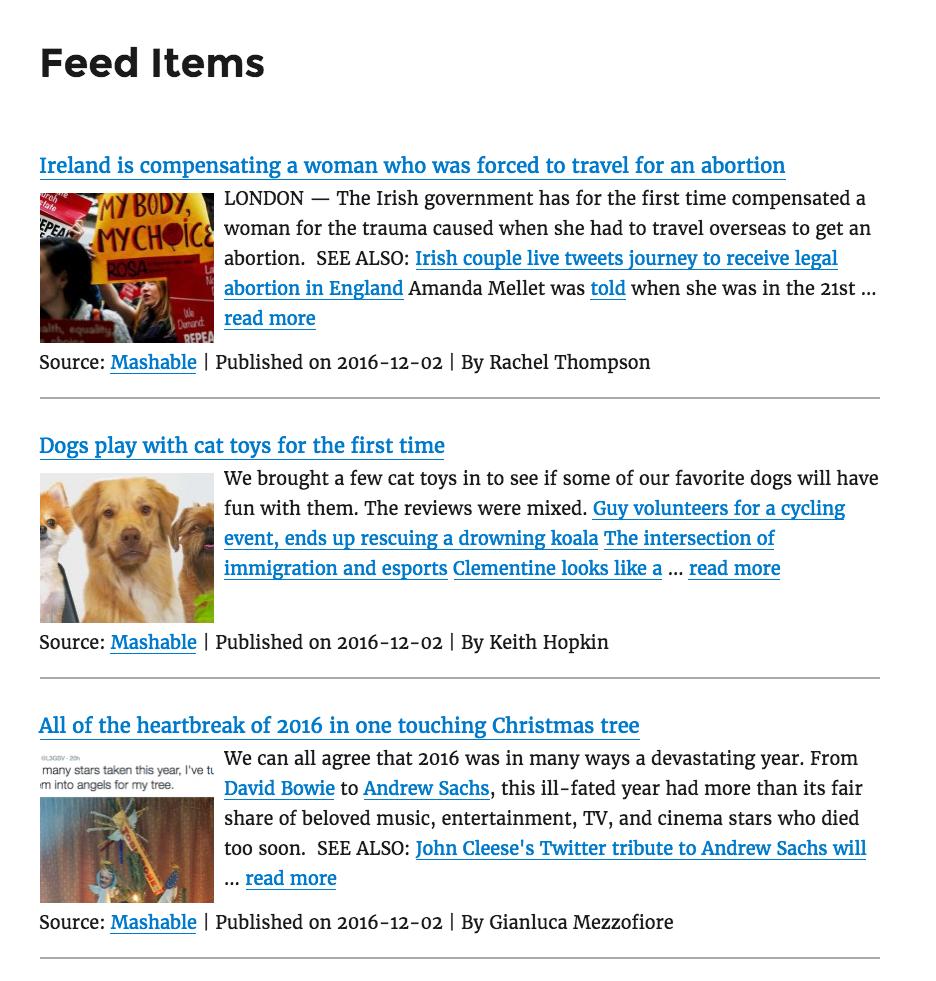 Пример работы плагина WP RSS Aggregator