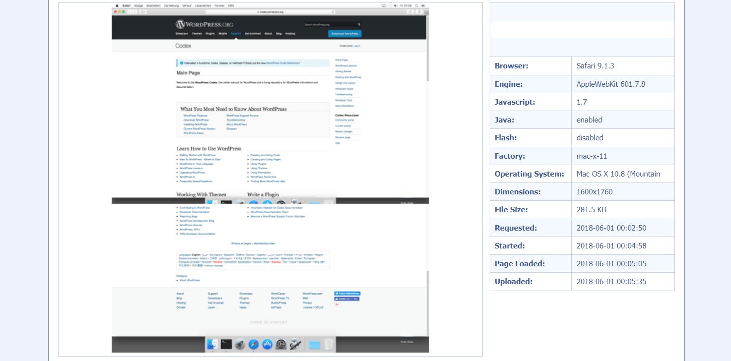 Главная страница сайта http://browsershots.org