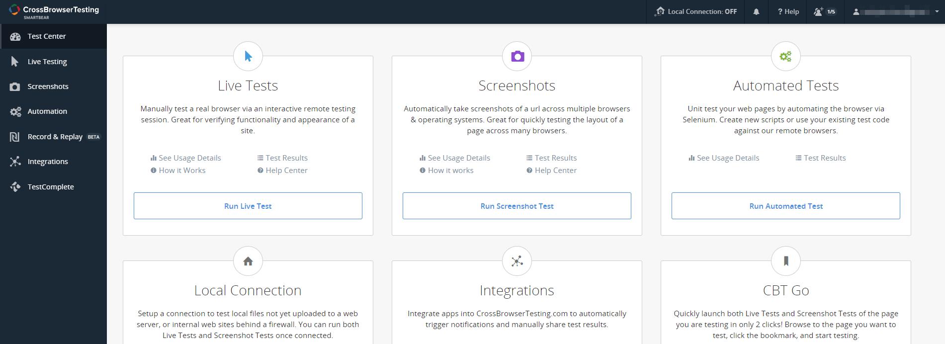 Панель мониторинга на сайте https://crossbrowsertesting.com