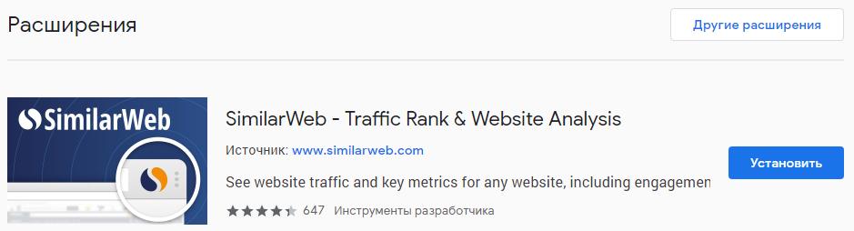 Расширение SimilarWeb в Google Chrome