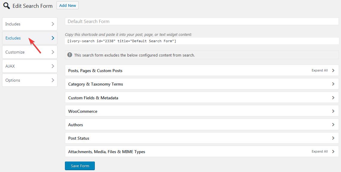 Исключение контента для поиска в плагине Ivory Search