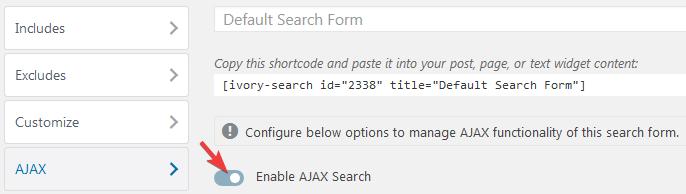 Активация AJAX в плагине Ivory Search