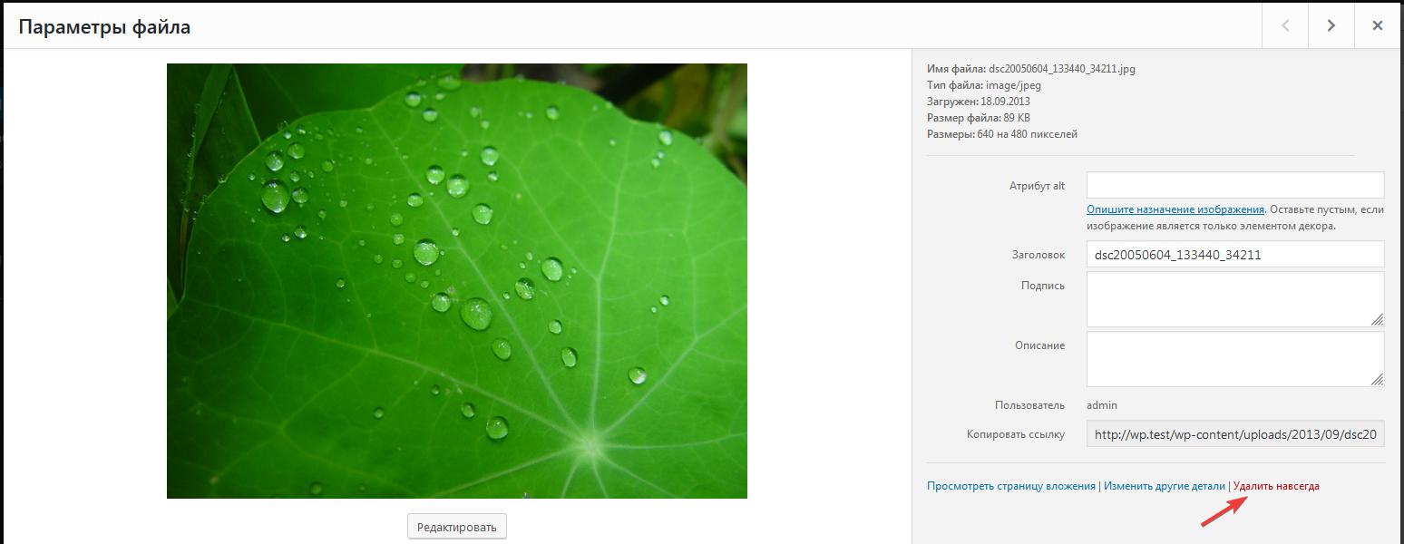 Удаление изображения в Медиабиблиотеке