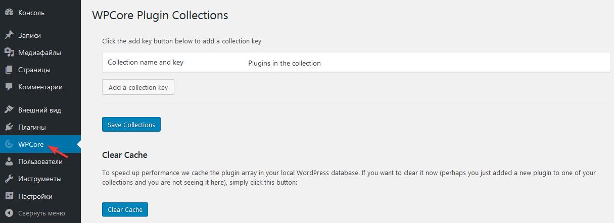 Страница настроек плагина WPCore Plugin Manager