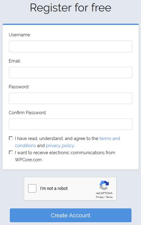Регистрация на wpcore.com