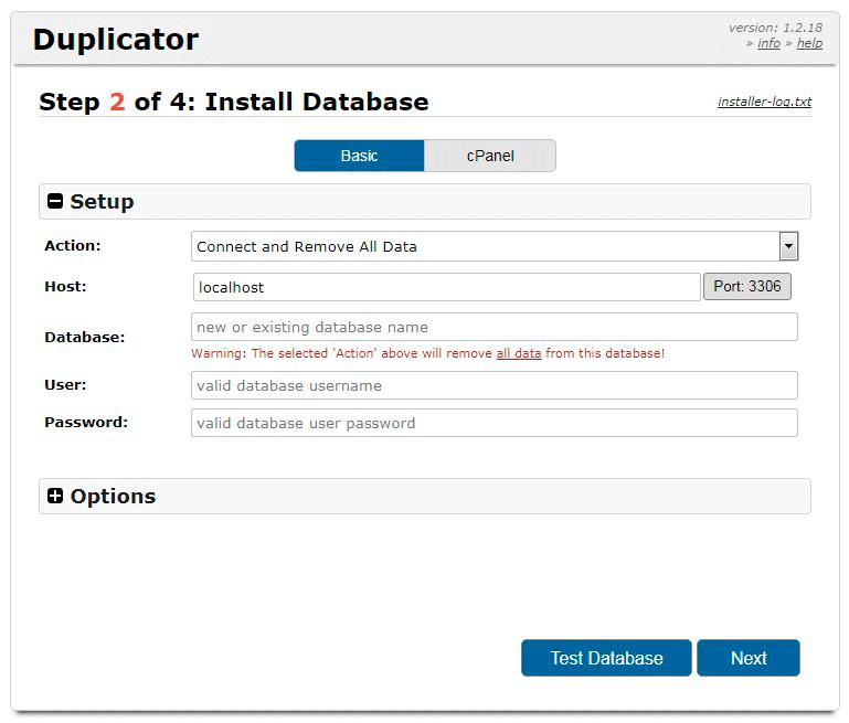 Перенос сайта в Duplicator