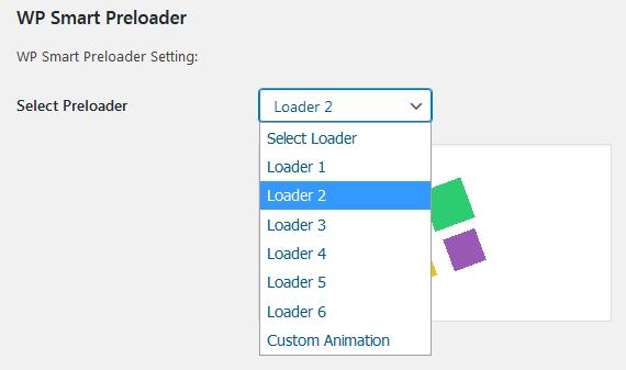 Выбор анимации загрузчика в WP Smart Preloader