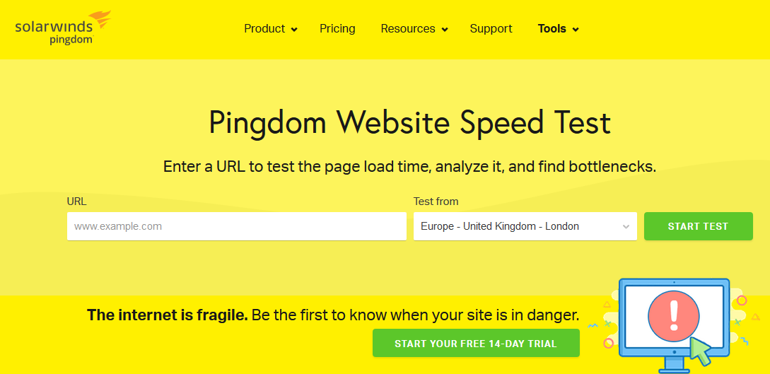 Сервис Pingdom Tools