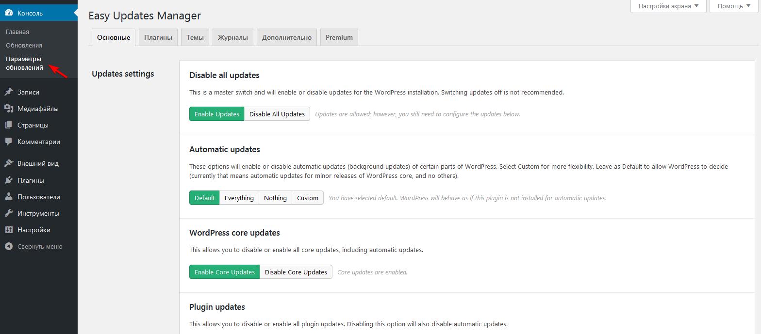 Настройка плагина Easy Updates Manager