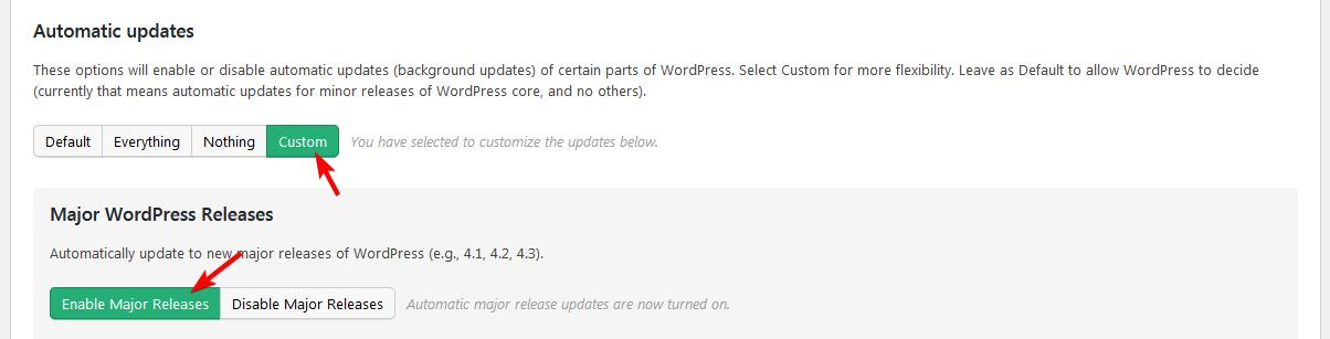 Включение мажорных обновлений в Easy Updates Manager