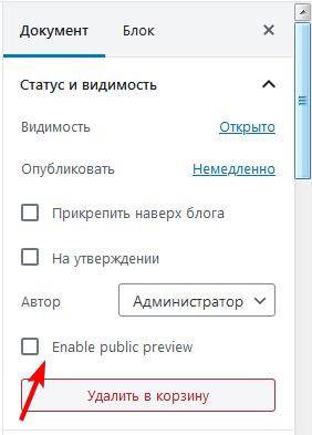 Опция Enable public preview в Gutenberg