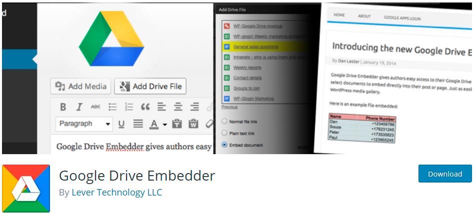 Оф. страница плагина Google Drive Embedder