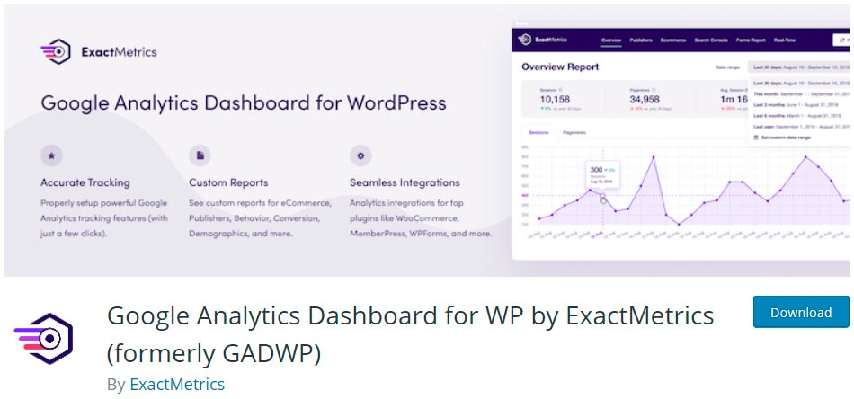 Оф. страница плагина Google Analytics Dashboard for WP