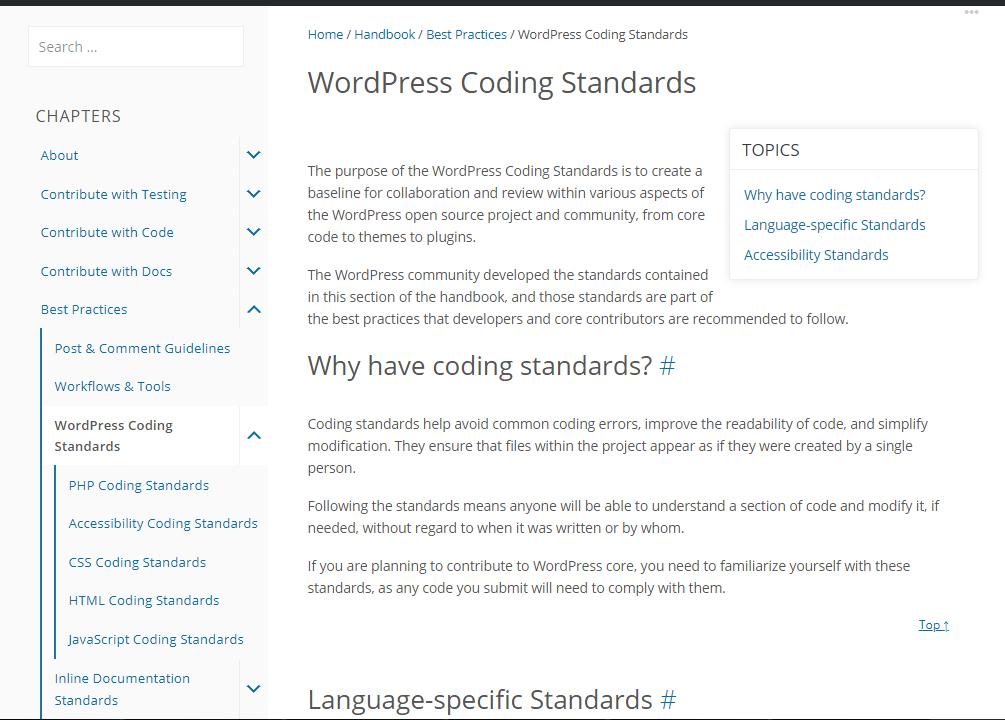 Оф. рекомендации для WordPress-разработчикам