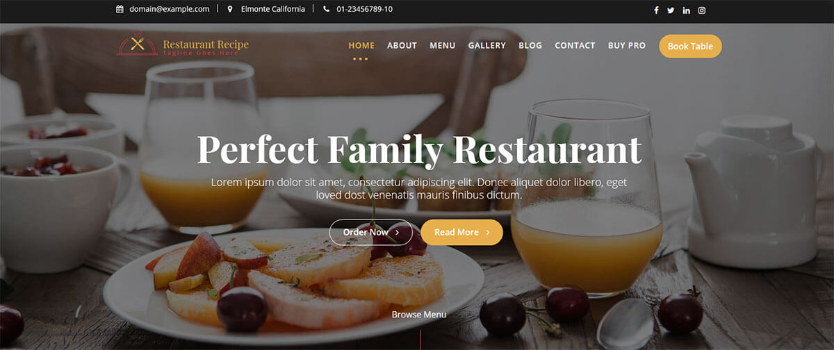 WordPress шаблон Restaurant Recipe