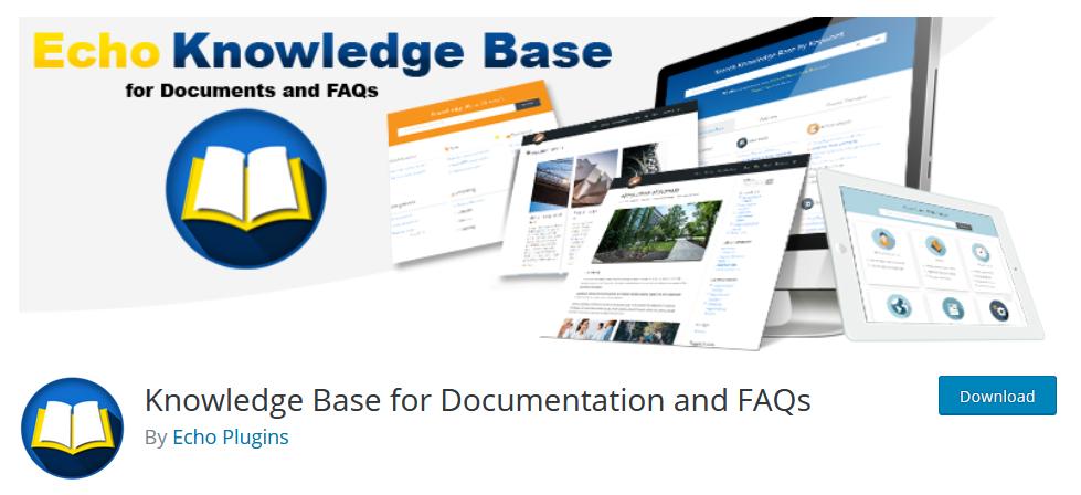 Страница плагина Knowledge Base for Documentation and FAQs на wordpress.org