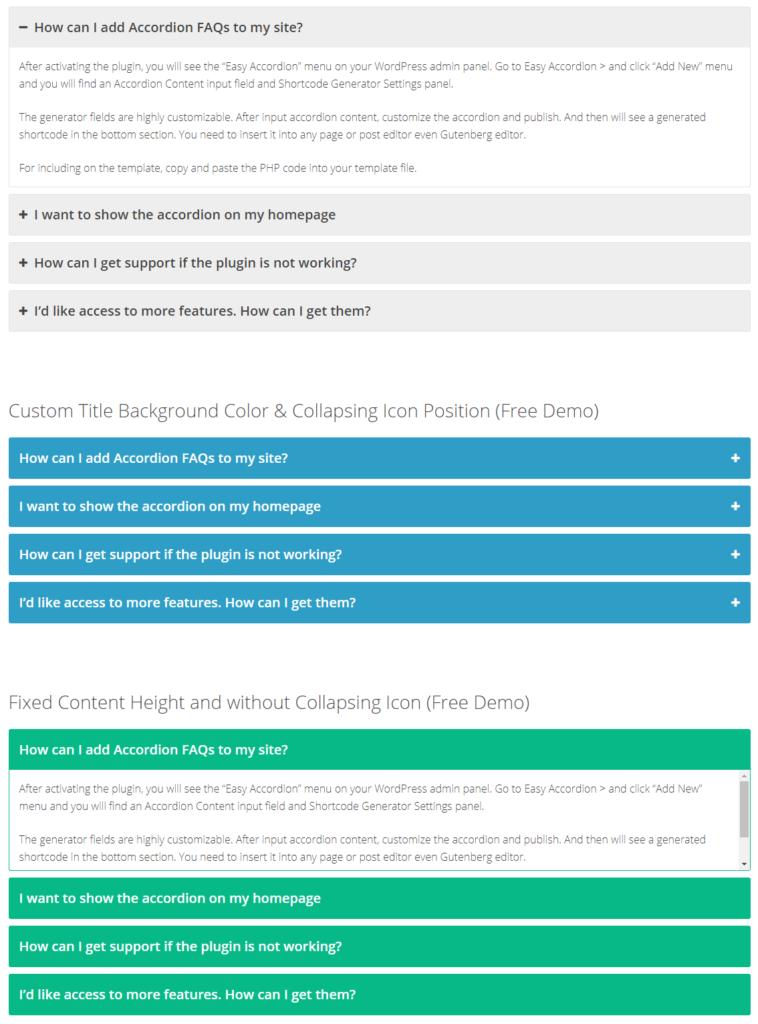 Блок FAQ с помощью плагина Easy Accordion