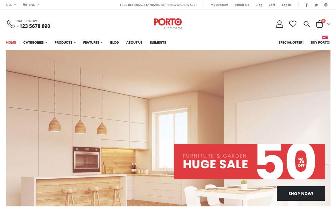 Демо-сайт с темой Porto eCommerce
